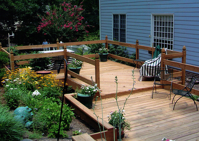 decorative deck and seating